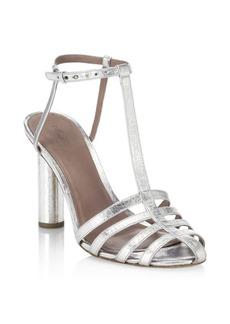 Diane Von Furstenberg Eva Metallic T-Strap Sandals