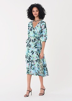 Diane Von Furstenberg Evelyn Reversible Crepe Midi Wrap Dress