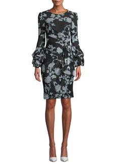 Diane Von Furstenberg Faridah Printed Tie-Front Tucked-Sleeve Dress