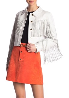 Diane Von Furstenberg Fitted Fringe Leather Jacket
