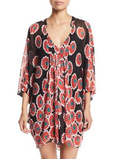 Diane Von Furstenberg Fleurette Floral Silk Shirred Coverup Dress