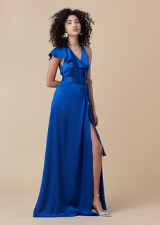 Floor-Length Asymmetric Ruffle Wrap Dress