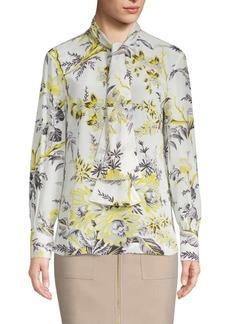 Diane Von Furstenberg Floral Bow Blouse