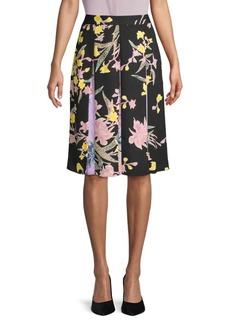 Diane Von Furstenberg Floral Pleated Skirt