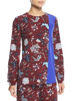 Diane Von Furstenberg Floral-Print Side-Slit Silk Blouse