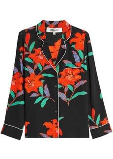 Diane Von Furstenberg Floral Print Silk Blouse