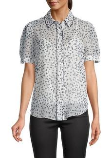 Diane Von Furstenberg Floral Puff-Sleeve Shirt
