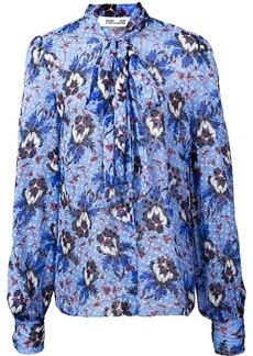 Diane Von Furstenberg floral tie neck blouse