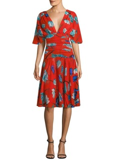 Diane Von Furstenberg Flutter Sleeve Floral A-line Dress
