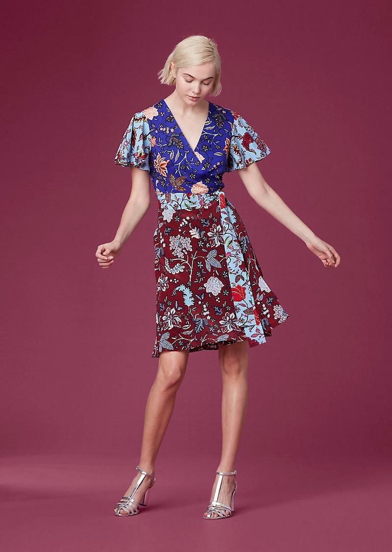 Diane Von Furstenberg Flutter Sleeve Front Tie Wrap Dress