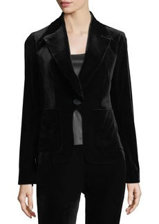 Flynn Single-Button Velvet Blazer