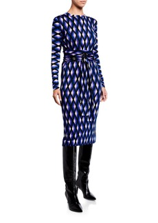 Diane Von Furstenberg Gabel Printed Wool Belted Dress