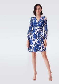 Diane Von Furstenberg Gala Silk-Jersey & Chiffon Mini Wrap Dress in Willow Patterns Pink Blue