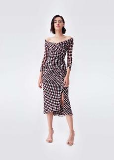 Diane Von Furstenberg Ganesa Ruched Mesh Dress in Nomad Tartan