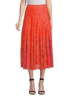 Diane Von Furstenberg Gardenia Box Lace Pleated Midi Skirt