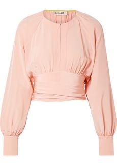 Diane Von Furstenberg Gathered cropped silk wrap blouse