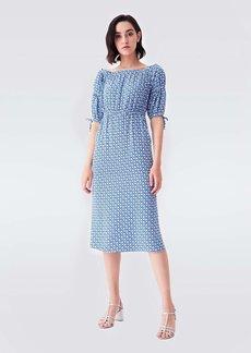 Diane Von Furstenberg Geneva Crepe Midi Dress in Fun Club Blue
