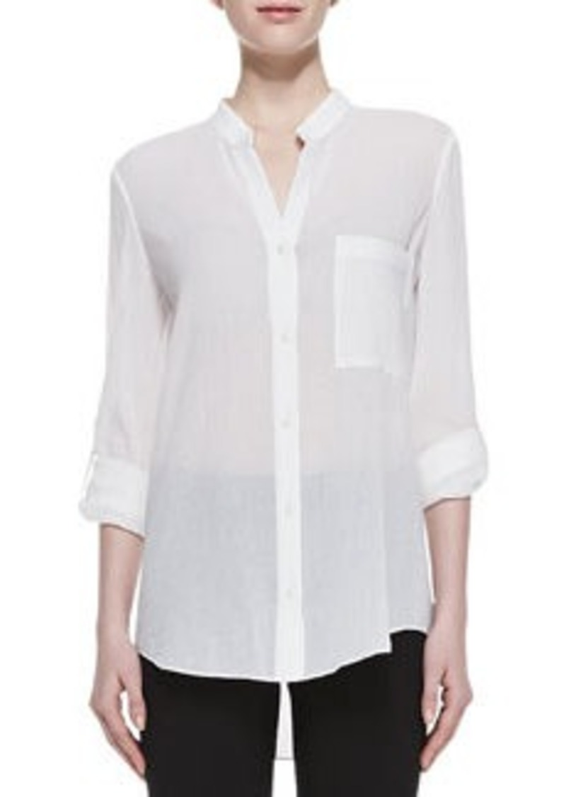 Diane Von Furstenberg Gilmore Long Sleeve Translucent Blouse, White   Gilmore Long Sleeve Translucent Blouse, White