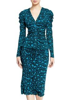 Diane Von Furstenberg Gladys Leopard-Print Button-Front Top
