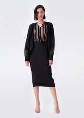 Diane Von Furstenberg Grace Wool-Blend Oversized Cardigan in Black
