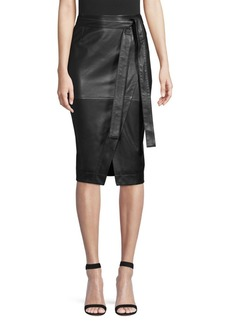 Diane Von Furstenberg Grace Self-Tie Leather Pencil Skirt