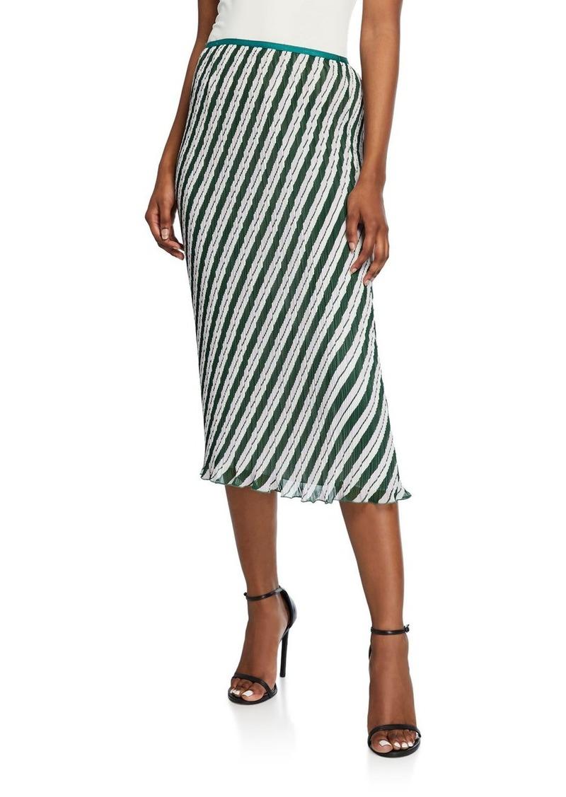 Diane Von Furstenberg Gwyneth Pleated Stripe Midi Skirt
