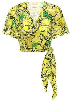 Diane Von Furstenberg Hailey printed cotton and silk top