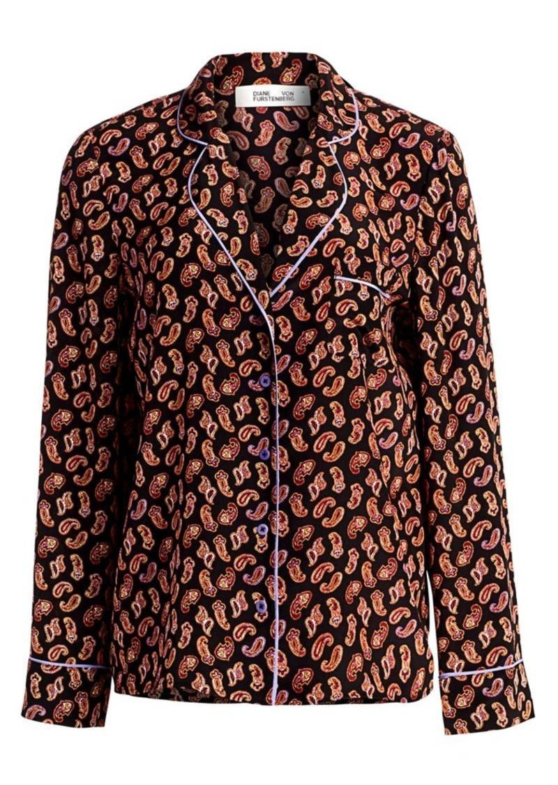 Diane Von Furstenberg Halsey Paisley PJ-Style Silk Shirt