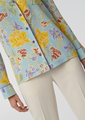 Diane Von Furstenberg Halsey Silk Crepe de Chine Pajama Top in Batik Floral Sky Blue