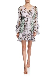 Diane Von Furstenberg Harlow Printed Long-Sleeve Ruffle Mini Dress