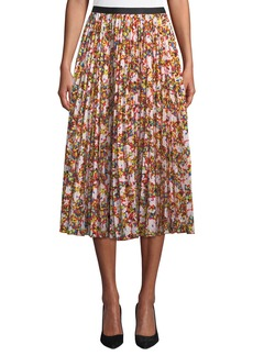 Diane Von Furstenberg Heavyn Pleated Printed Silk Midi Skirt