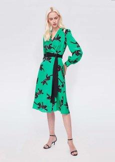 Diane Von Furstenberg Hesy Silk Crepe De Chine Midi Wrap Dress in Climbing Panther Green