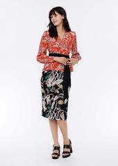 Diane Von Furstenberg Hesy Silk Crepe de Chine Wrap Top in Bali Flower Red
