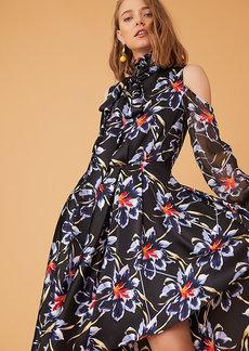 Diane Von Furstenberg High Low Mock Neck Silk Gown
