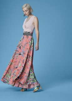 High-Waisted Draped Maxi Skirt