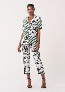 Diane Von Furstenberg Iman Silk Crepe de Chine Collared Shirt