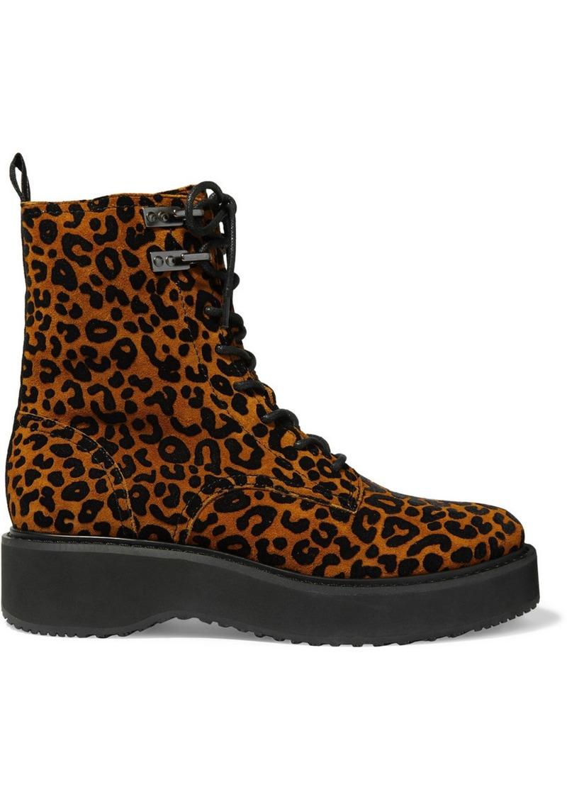 Diane Von Furstenberg In Charge Leopard-print Suede Ankle Boots