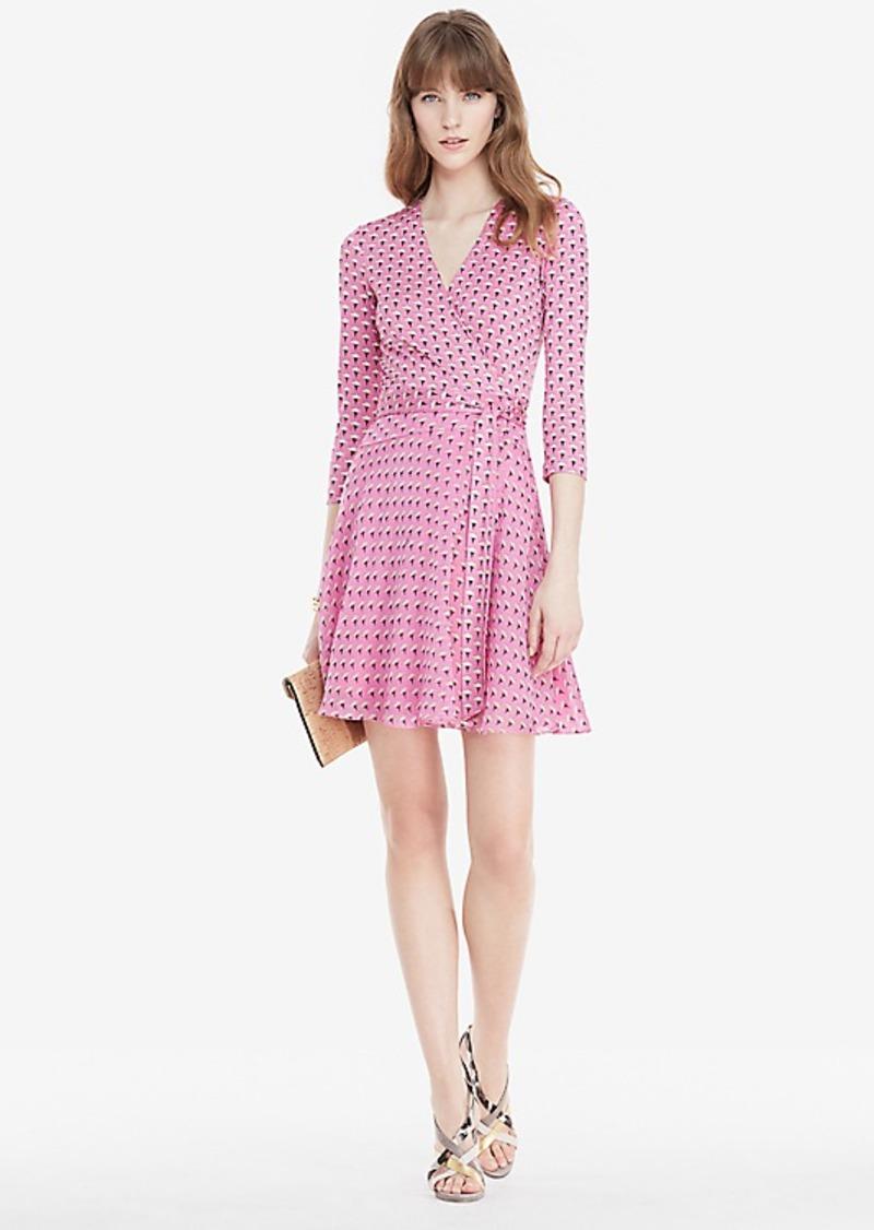 Diane Von Furstenberg Irina Silk and Chiffon Combo Wrap Dress