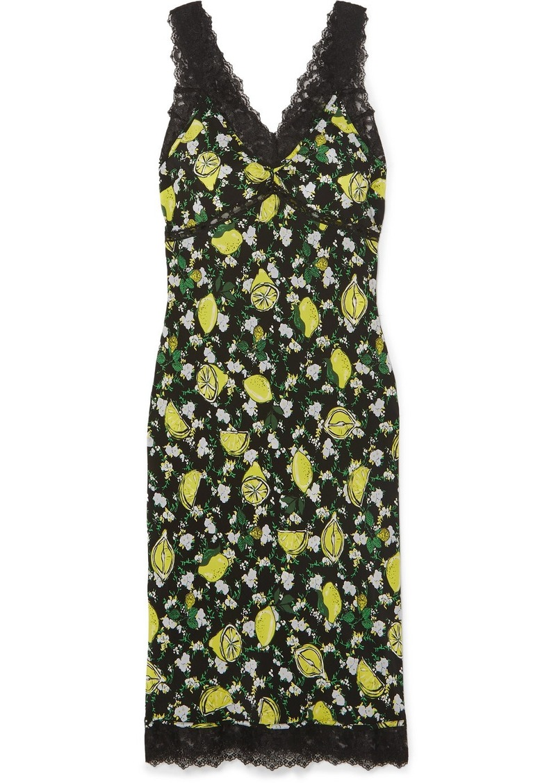 Diane Von Furstenberg Issey Lace-trimmed Printed Silk Crepe De Chine Midi Dress