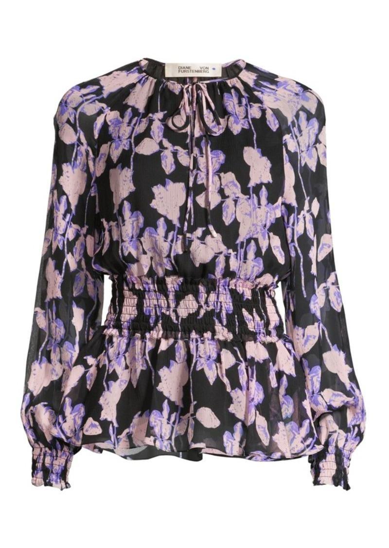 Diane Von Furstenberg Jacie Floral Silk Blouse