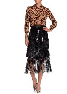 Diane Von Furstenberg Jacki Sequin and Fringe Skirt
