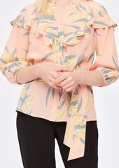Diane Von Furstenberg Jana Silk Crepe de Chine Belted Blouse in Quincy Pink