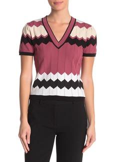 Diane Von Furstenberg Janelle V-Neck Short Sleeve Knit Top