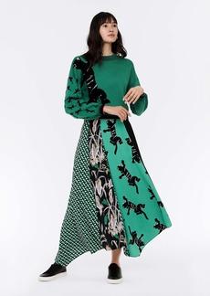 Diane Von Furstenberg Jeffrey Crepe Asymmetrical Maxi Skirt in Climbing Panther Green/ 3D Chain Green
