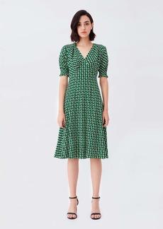 Diane Von Furstenberg Jemma Cinch-Sleeve Crepe Midi Dress in 3D Chain Green