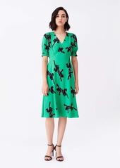 Diane Von Furstenberg Jemma Cinch-Sleeve Crepe Midi Dress in Climbing Panther Green