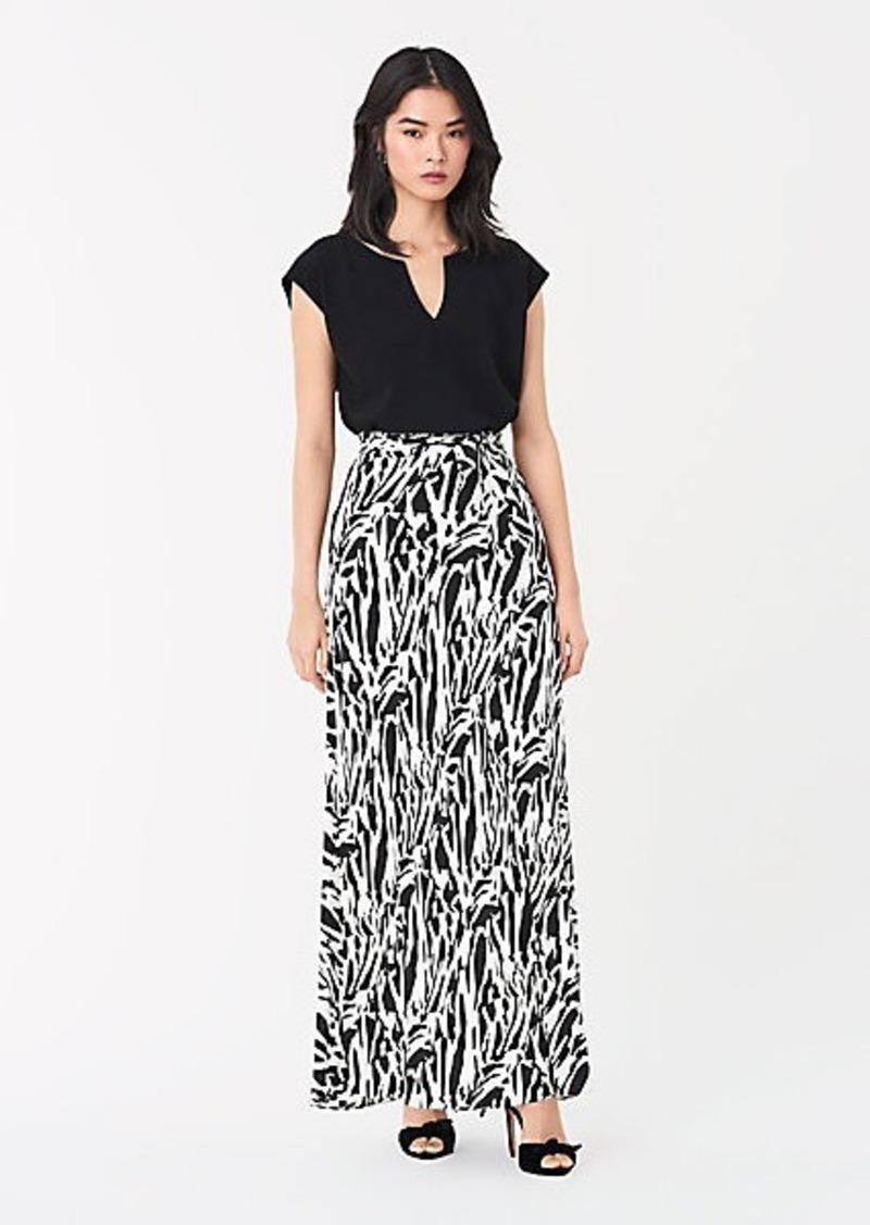 Diane Von Furstenberg Jennifer Silk Crepe de Chine Belted Maxi Skirt
