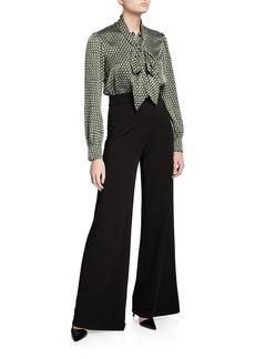 Diane Von Furstenberg Jilly Geo-Print Tie-Neck Jumpsuit