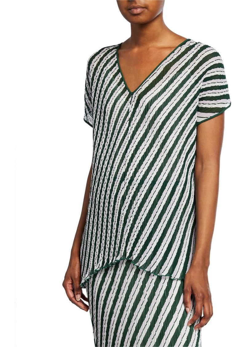 Diane Von Furstenberg Jolene Pleated Stripe Short-Sleeve Top