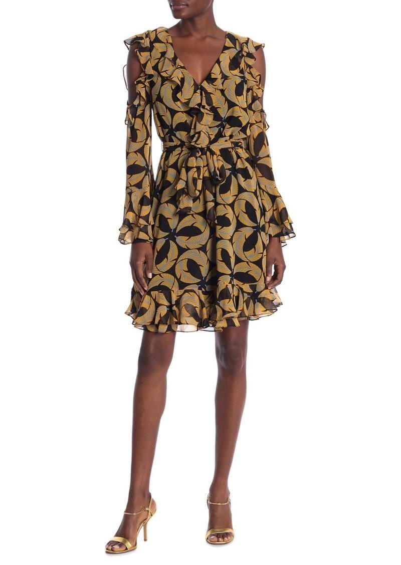 Diane Von Furstenberg Joni Leaf Print Ruffle Dress